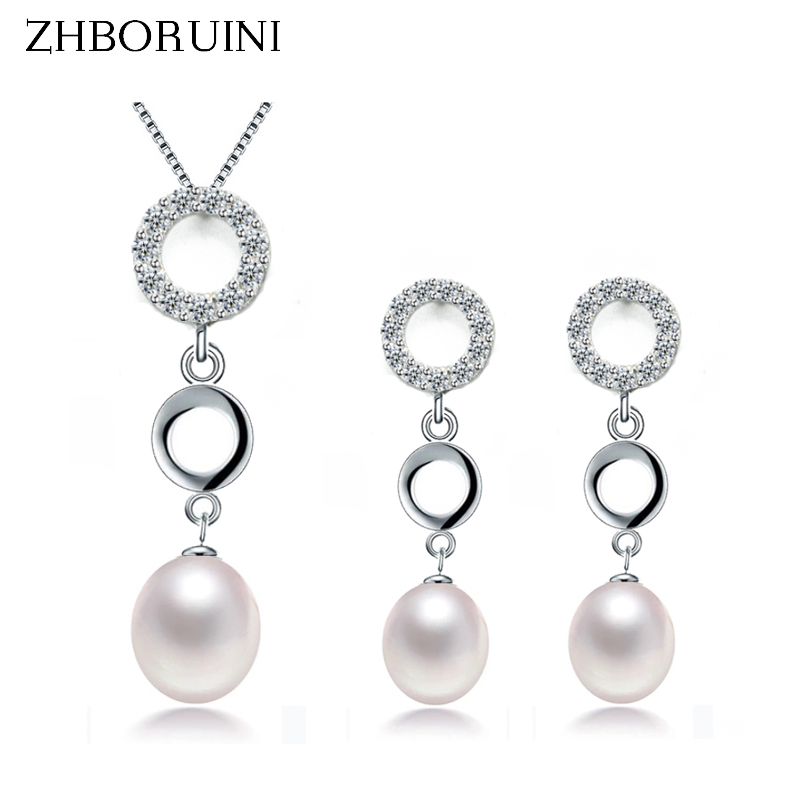 ZHBORUINI 2019 Pearl Jewelry Sets Natural Pearl Necklace Earrings Double Loop 925 Sterling Silver Jewelry Set For Women GiftZHBORUINI 2019 Pearl Jewelry Sets Natural Pearl Necklace Earrings Double Loop 925 Sterling Silver Jewelry Set For Women Gift