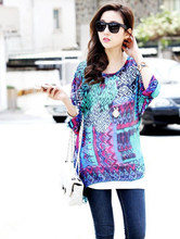 8cb9c79f97b 2016 new geometric print girls sheer shirts plus size summer blusas 2016  vogue design women blusas fashion chiffon blouses