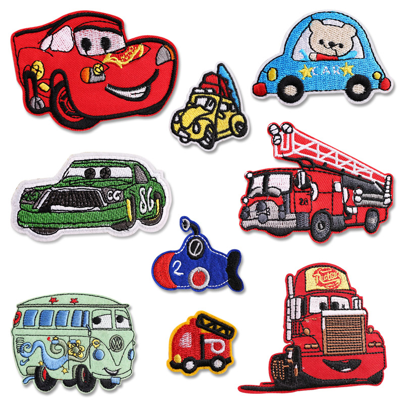 Cartoon Car <font><b>bus</b></font> <font><b>Patch</b></font> Embroidered Iron on <font><b>Patches</b></font> for clothing DIY Kids Badges Stickers Garment Appliques wholesale image