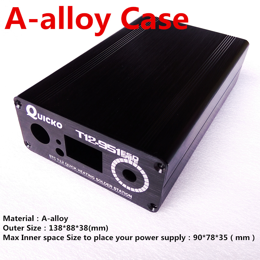 QUICKO ABS Plastic Shell /Alumium Alloy Case For T12 Digital Soldering Iron DIY Kits/T12 LED Version Outer Box Cover