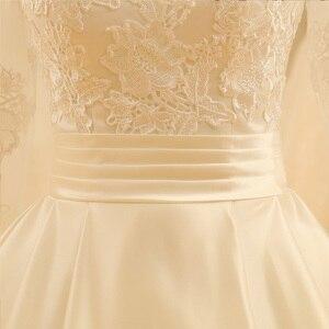 Image 5 - SL 523 Backless V Neck Illusion Full Sleeve Satin Lace Wedding Dress 2018
