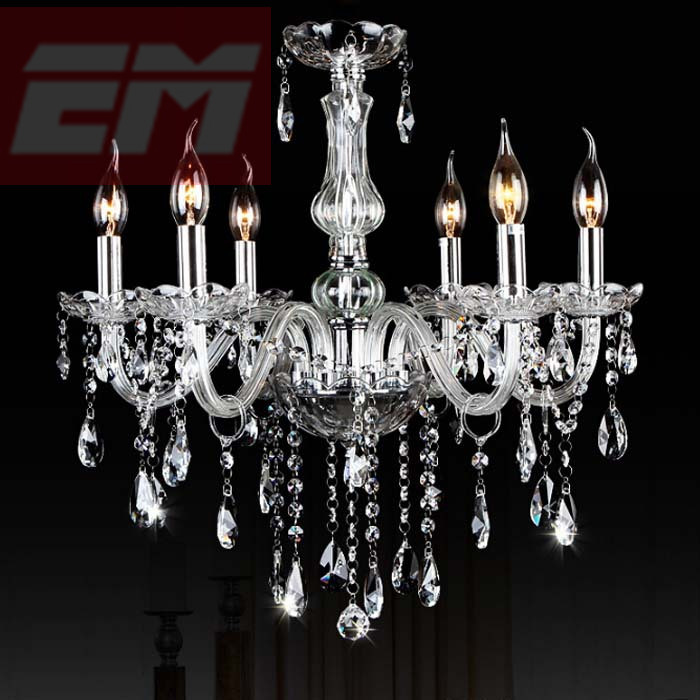 6 Arms Crystal Chandelier Home Lighting Lustres De Cristal E14 Bulb Light Fixtures Chandelier And Pendant Living Room WPL089 men at arms