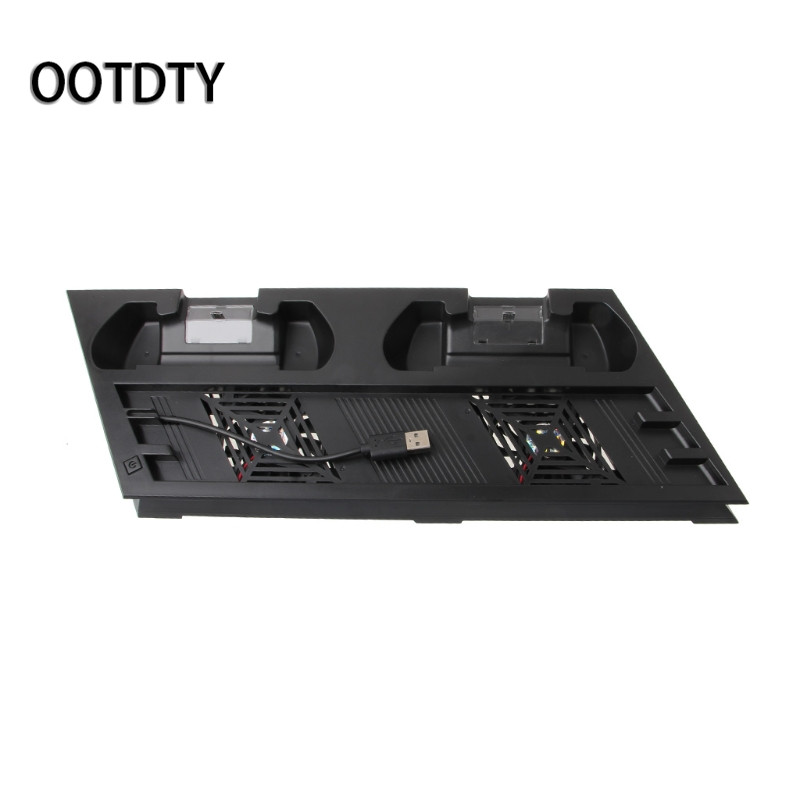 OOTDTY Games Accessories 4-In-1 Cooling Fan Vertical Stand USB Hub Dual Controllers Charging Dock For PS4