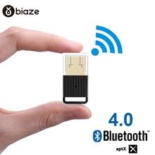 Biaze  USB Bluetooth Dongle Adapter 4.0 for PC Computer Speaker Wireless Mouse Bluetooth Music Audio Receiver Transmitter aptx biaze синий 12 м