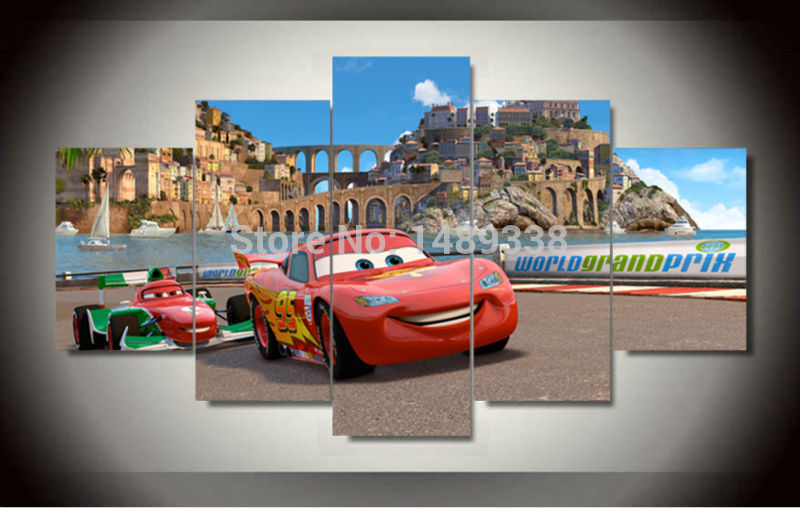 framed printed route 66 cars movie 5 piece picture painting wall art room decor poster canvas