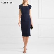 Womens Elegant Office lady Summer Dress Asymmetrical Neck Party Clubwear Sheath Bodycon Pencil vestido