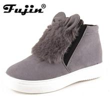 2017 del otoño del resorte Fujin Mujer Plataforma Con Orejas invierno de las mujeres los zapatos se deslizan en los Zapatos de Los Estudiantes Botas de felpa Caliente Bota