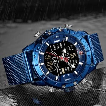 NAVIFORCE Mens Watches Top Luxury Brand Men Sports Watches Men's Quartz LED Digital Clock Male Full Steel Military Wrist Watch 4