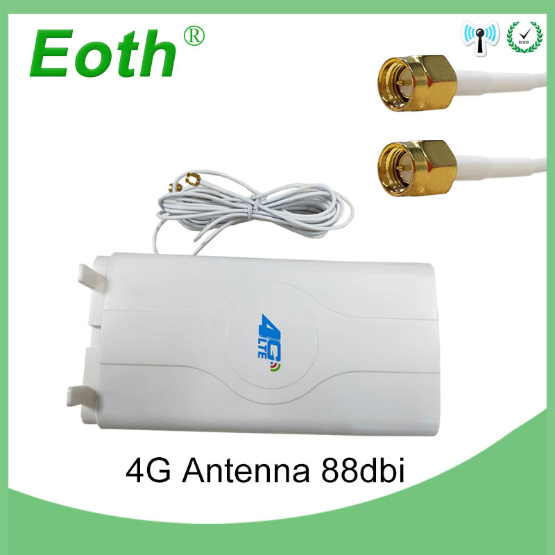 Eoth 3g 4g LTE Antenne 88dBi 2 SMA Stecker 700 ~ 2600 mhz Modem Antena Booster mimo panel Antenne router mit 2 mt Kabel