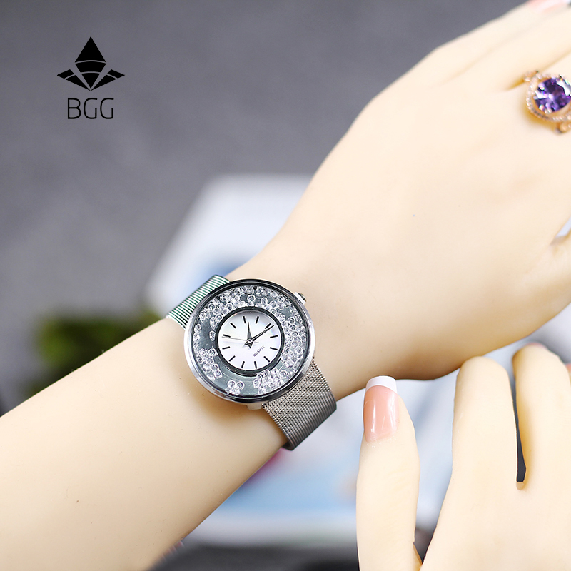 Hot Fashion Stainless Mesh Strap Watch Women Crystal Dial Poplular BGG Brand wristwatches Ladies Gold Silver Dress Quartz-Watch bgg brand creative two turntables dial women men watch stainless mesh boy girl casual quartz watch students watch relogio