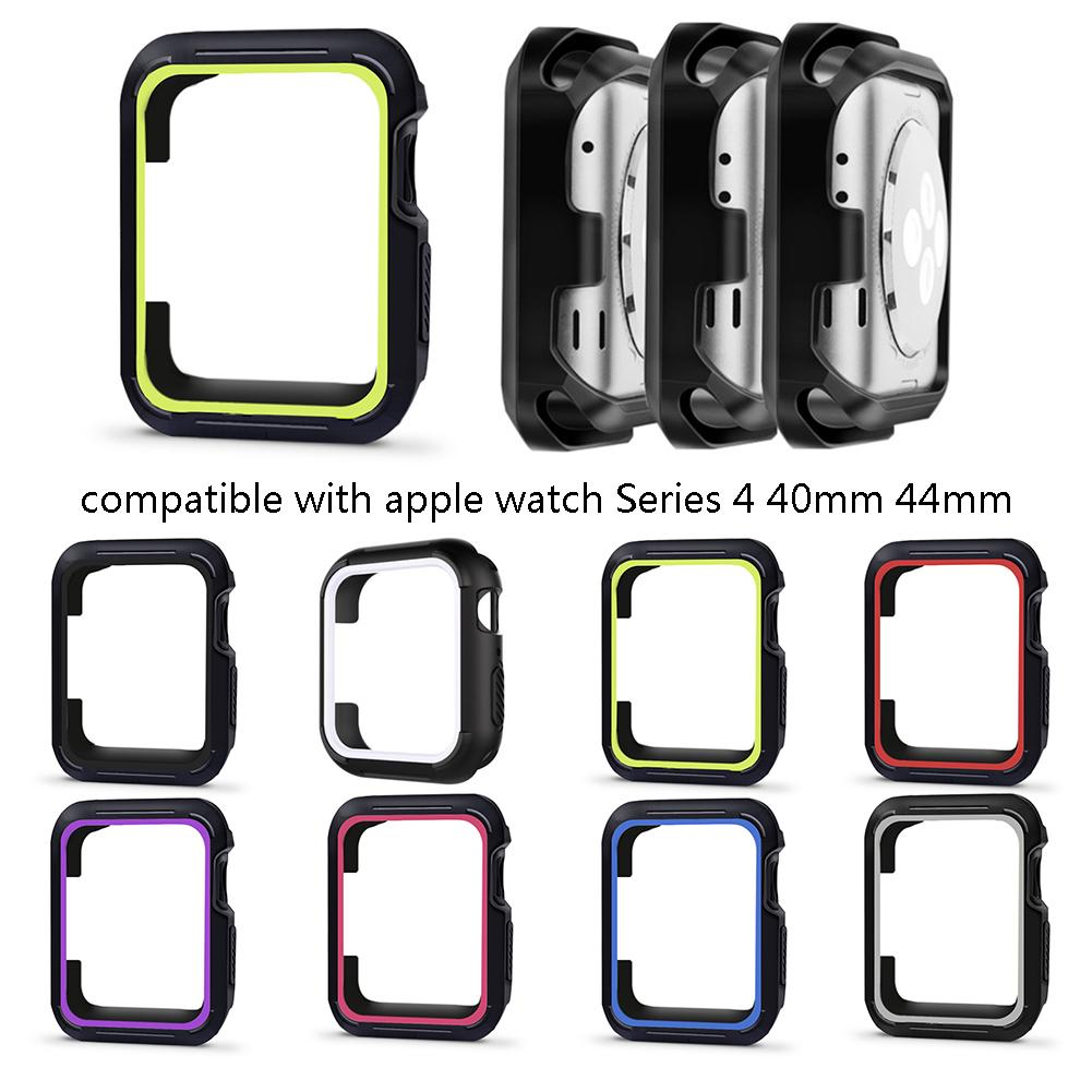 Smart Watch Screen Protective Case Silicone Double Color Soft TPU Protective Case For Apple Watch 4 IWatch Series Accessories