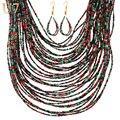 U7 Синтетические Коралловые Бусы Ожерелье Серьги Ювелирных Комплект Для Женщин 5 Цвет Африканские Украшения S800