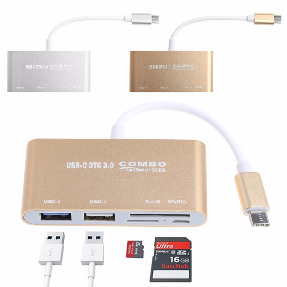 5-In-1 USB-C 3.1 Type-C OTG USB 3.0 2.0 Hub SD/TF Card Reader Combo For Laptop