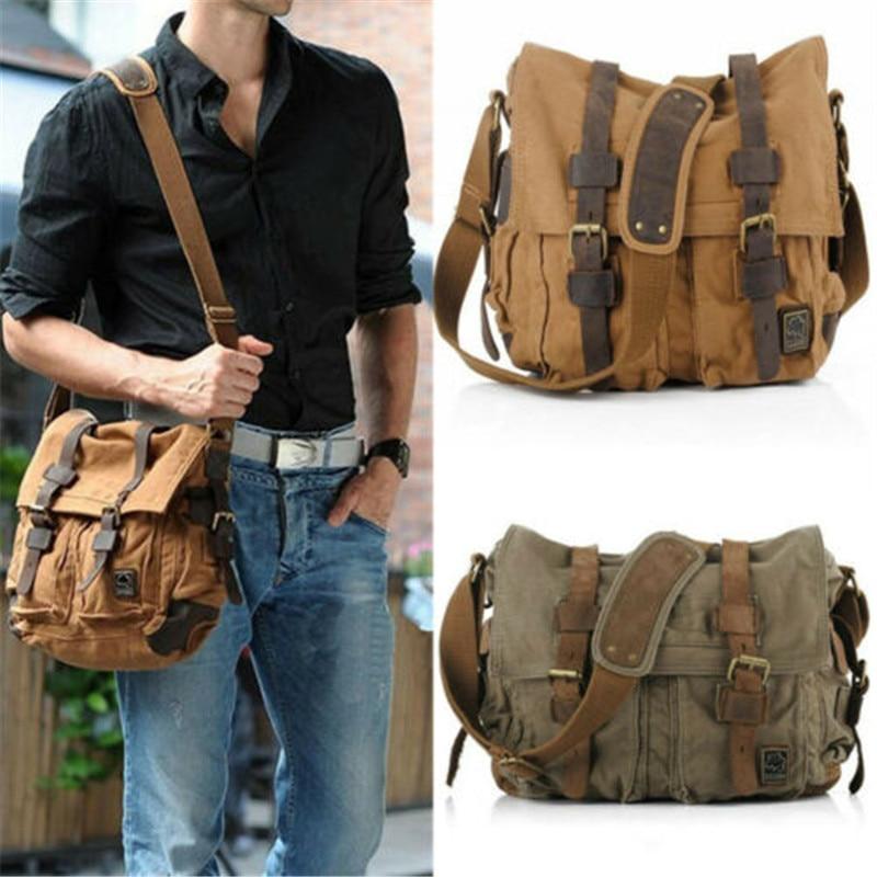Vintage sac à bandoulière militaire toile sac à bandoulière hommes sacoche marque décontracté fourre-tout armée vert voyage mâle Messenger sacs de voyage