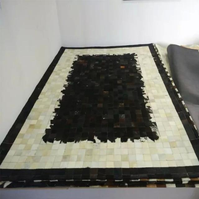 Schwarz/Elfenbein/Dunkelbraun Kuhfell Patchwork Bereich Teppich Original  Rindsleder Teppich Top Qualität Für