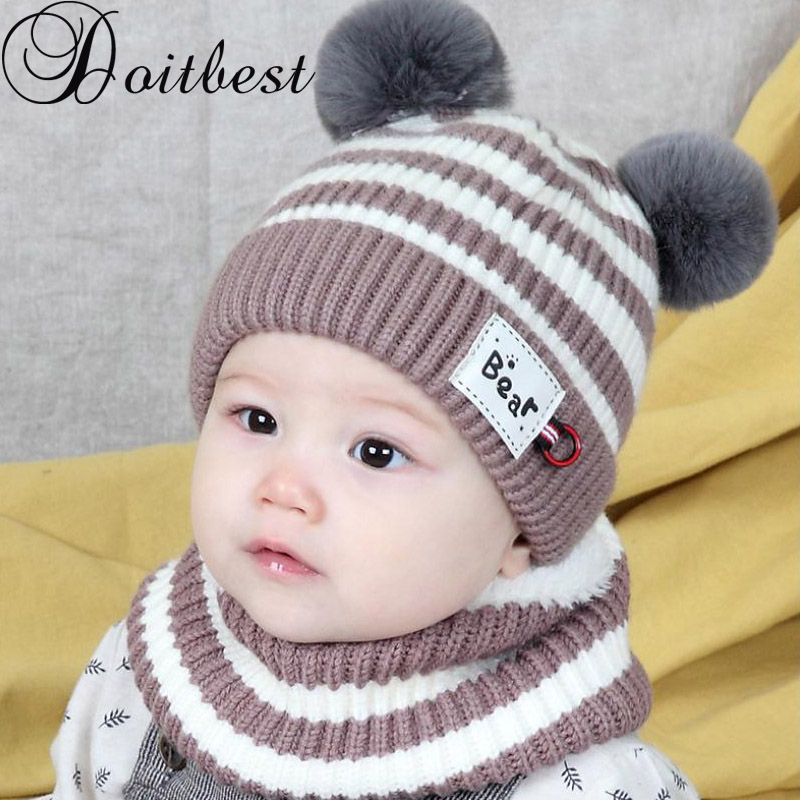 Doitbest 6 Momths To 3 Y Kids Beanie Striped Hair Bull Kids Boys Knitted Fur Hats Winter 2 Pcs Baby Wool Boy Girl Hat Scarf Set