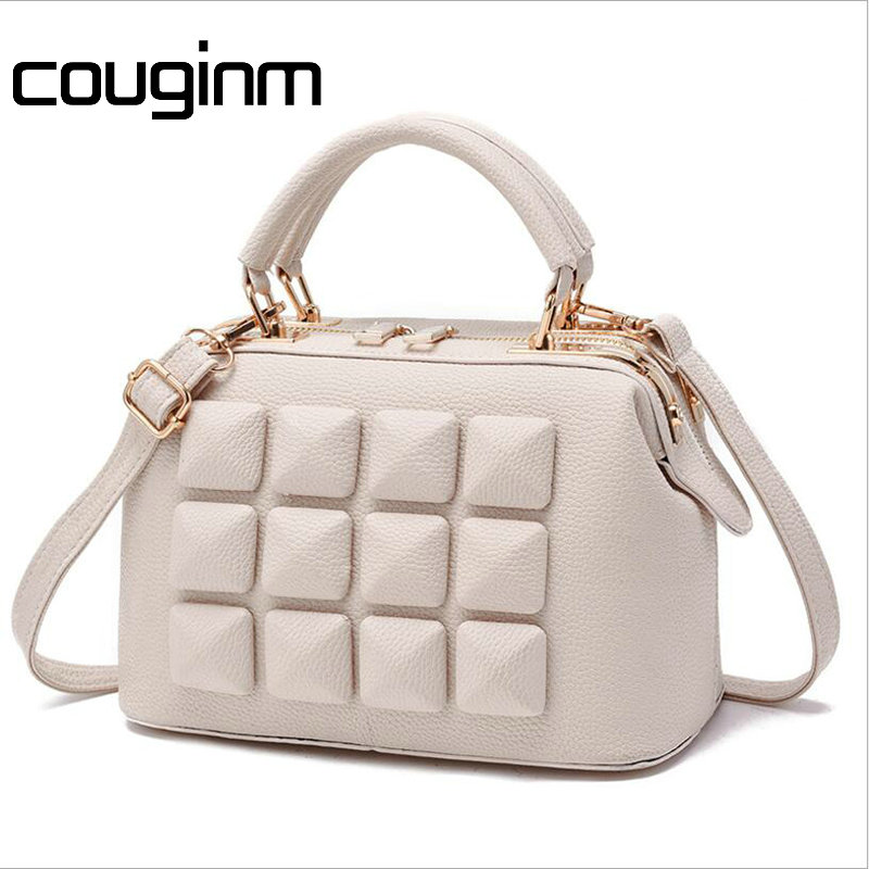 COUGINM Brand Women PU Leather Bag Ladies Stone Design Handbag Female Luxury Party Evening Shoulder Bags Casual Tote New Arrival casual women s shoulder bag with beauty print and pu leather design