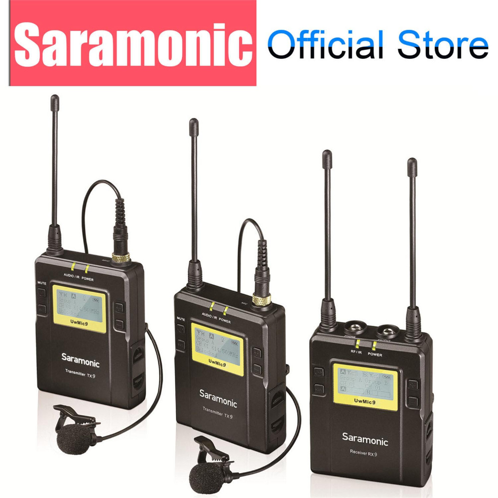 Saramonico UWMIC9 UHF Video Broadcast Intervista Lavalier Wireless Microphone System per Canon Nikon DSLR Camera Sony Camcorder