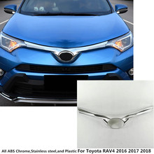For Toyota RAV4 2016 2017 2018 ABS Chrome Car Racing Grills Front Grill Grille Cover Protective Trim Auto engine Stick 1pcs