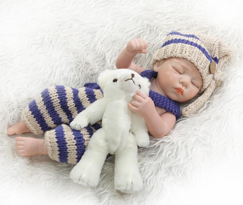 49cm Full Silicone Vinyl boy Reborn Doll Bebe Toy For Girl Bonecas Closed eyes Newborn BabiesToy fashion children Birthday Gift