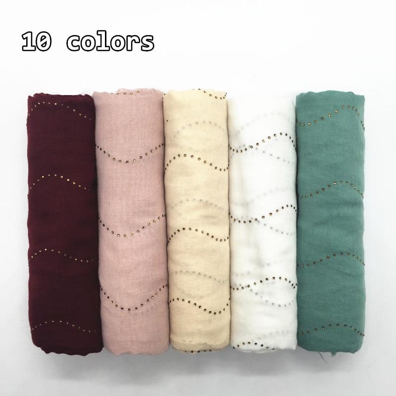 Women rhinestone decor wave pattern hijab scarf fringe muslim solid shawl shimmer plain basic scarves headbands islamic hijabs