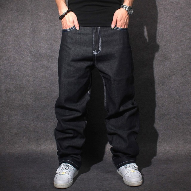 16b54a36f33 2015 Jeans Hommes Baggy Noir Décontracté Rap Jeans Lâche Pantalon Hip-Hop  Lâche Style Hip