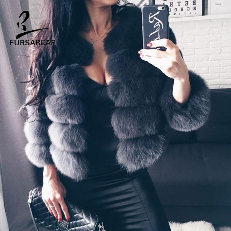 Fursarcar 2019 moda cinza escuro casaco curto real casaco de pele das mulheres casacos de pele de raposa natural inverno nove quartos mangas roupas quentes