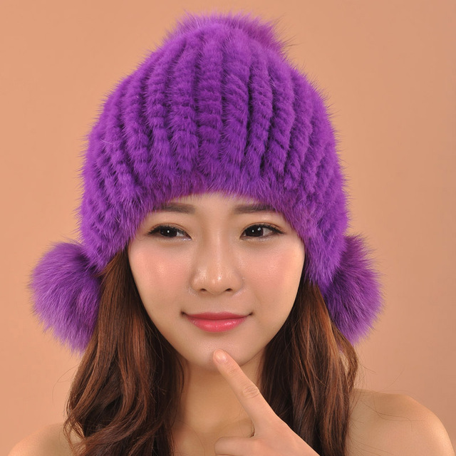 women winter warm hat knitted mink fur hat Bomber Hats with fox fur ball female cap