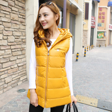 2015 new winter Korean Leather Slim Slim cotton vest warm warm Hooded Vest In the elaborate waistcoat