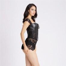 S-6XL Plus Size Sexy Lingerie Women Black Faux Leather
