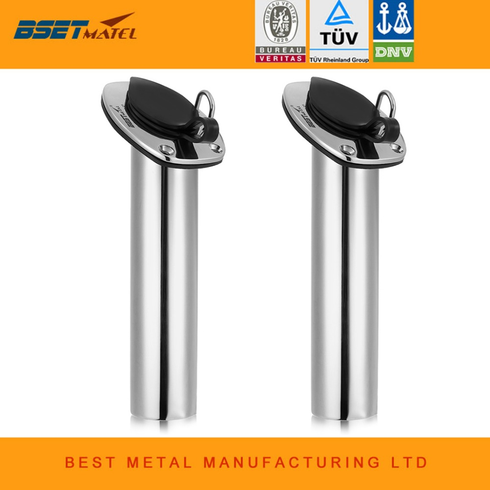 2 Pieces Lot Flush Mount 30 Degree BEST METAL stainless steel 316 fishing rod rack holders
