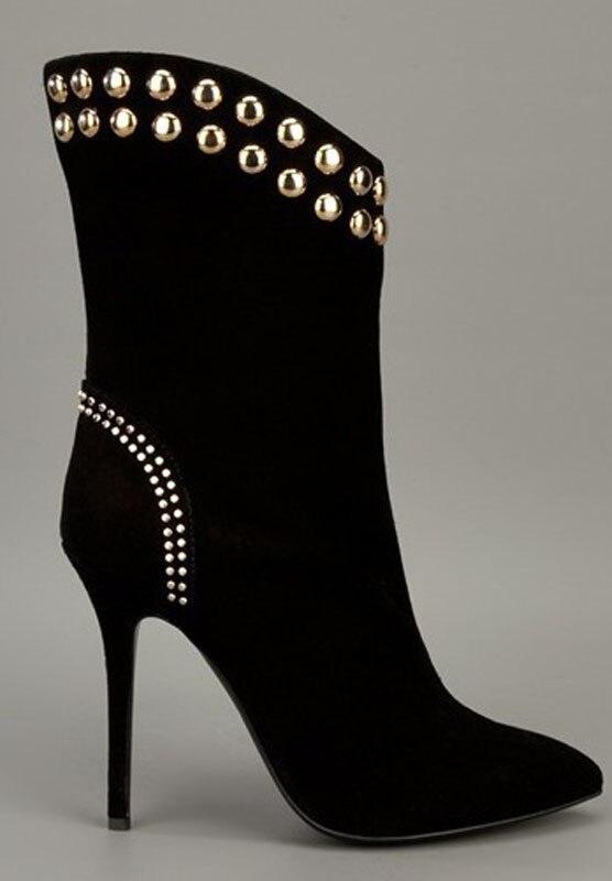 Remaches Delgada Zapatos Botas Mujeres Sexy Mujer Tacones Color Tachonado Negro Estrecha Caliente Altos As Moda Punta Showed Martin Venta 8RfxwvXqO