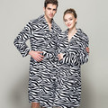 2016 Flannel Bath Robe Women Bathrobe winter Thick Long Spa Robes Shower pajamas Striped Zebra Print Colour