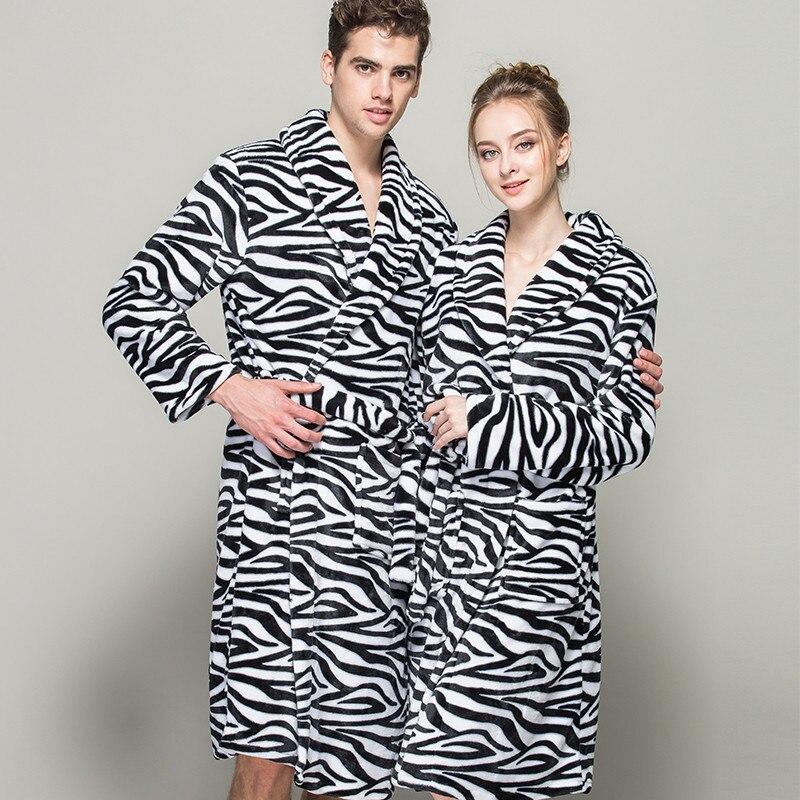 2016 Flannel Bath Robe Women Bathrobe winter Thick Long Spa Robes Shower pajamas Striped Zebra Print Colour