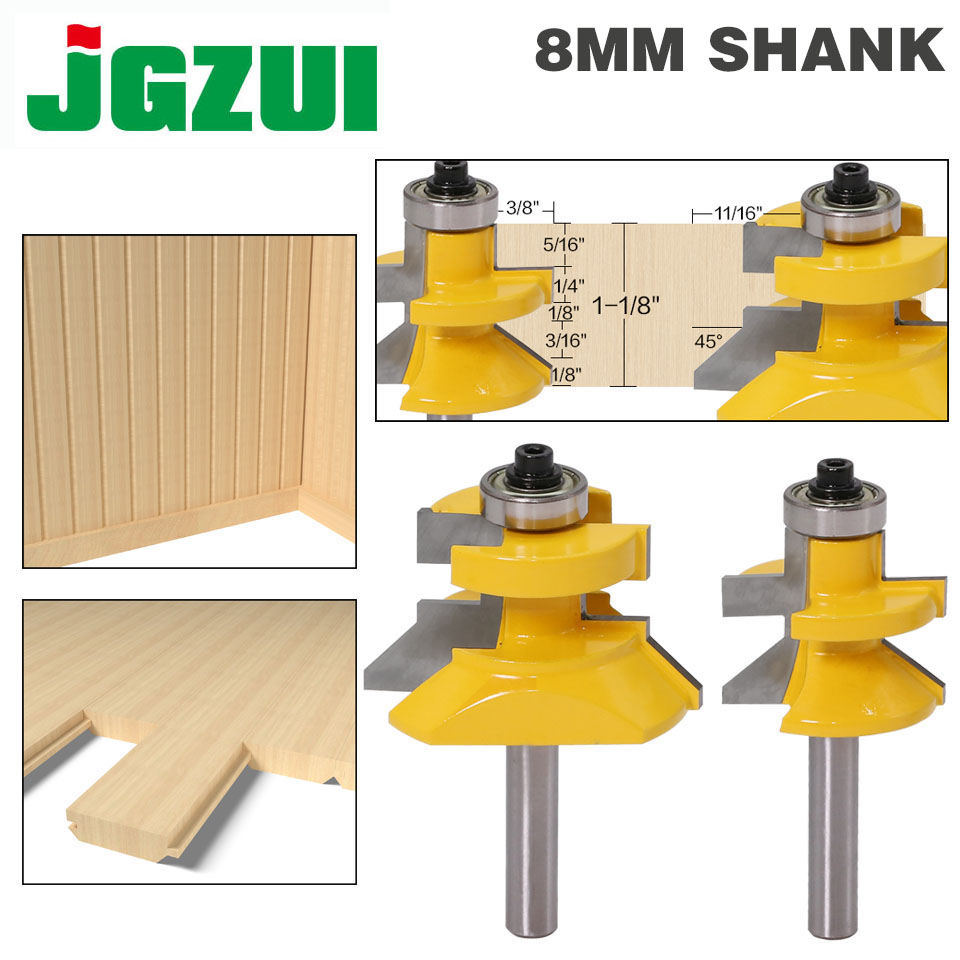 """2pc8mm"""" Shank V Groove & Matched Tongue Router Bit Set W/ Premium Ball Bearings Woodworking Cutte"""