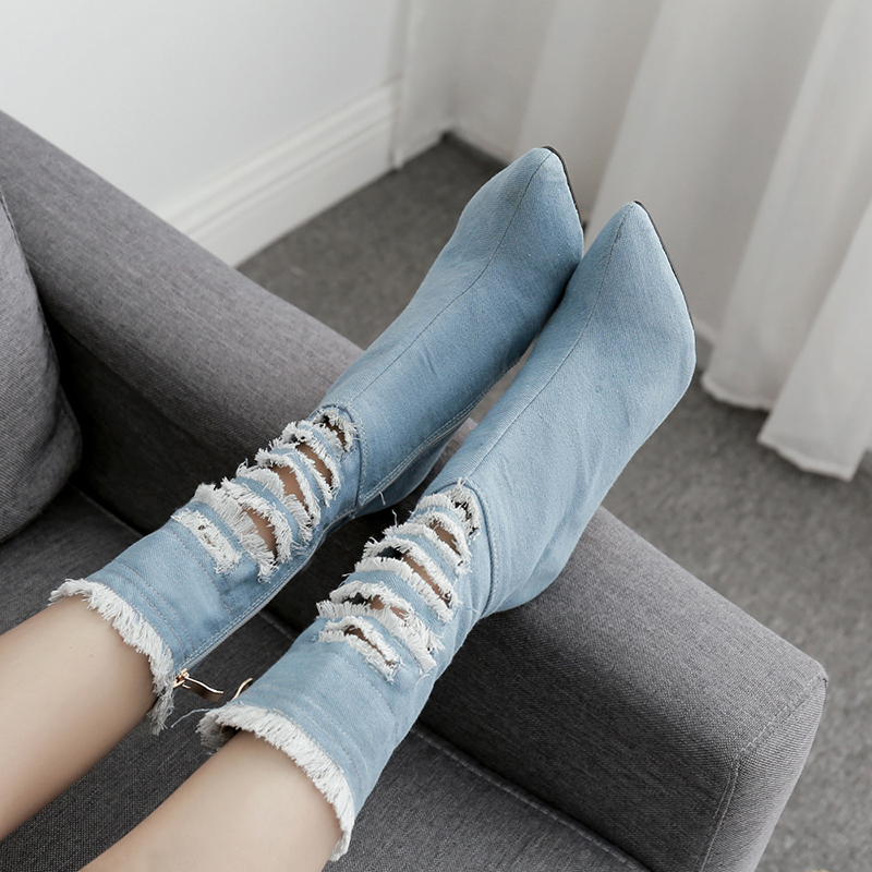Women Boots Ankle Shoes Brand Female Thin Heels Boots Female Denim Hole Pointed Toe Casual Shoes Ladies Shoe Autumn 2019 DE in Ankle Boots from Shoes