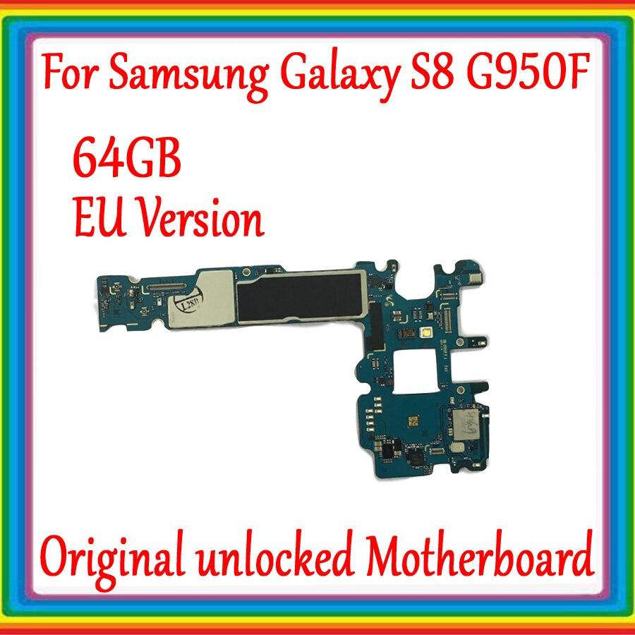 Version EU pour Samsung Galaxy S8 G950F carte mère déverrouillée d'origine 64GB pour carte mère Galaxy S8 G950F avec système Android