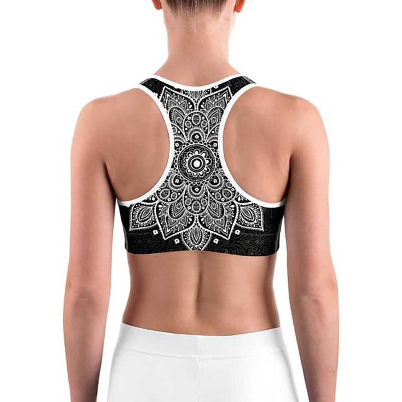 LI-FI Mandala Impressão Sutiã Esportivo De Alto Stretch Respirável Top De Fitness Mulheres Acolchoado para a Execução de Yoga Ginásio Colheita Perfeita Esporte Bra bra