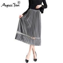Nuevo 2018 verano tulle Faldas mujeres Niñas dulce dama gris adulto tulle  falda mujeres elástico alta cintura Falda midi plisada 8dbd5c53e5af
