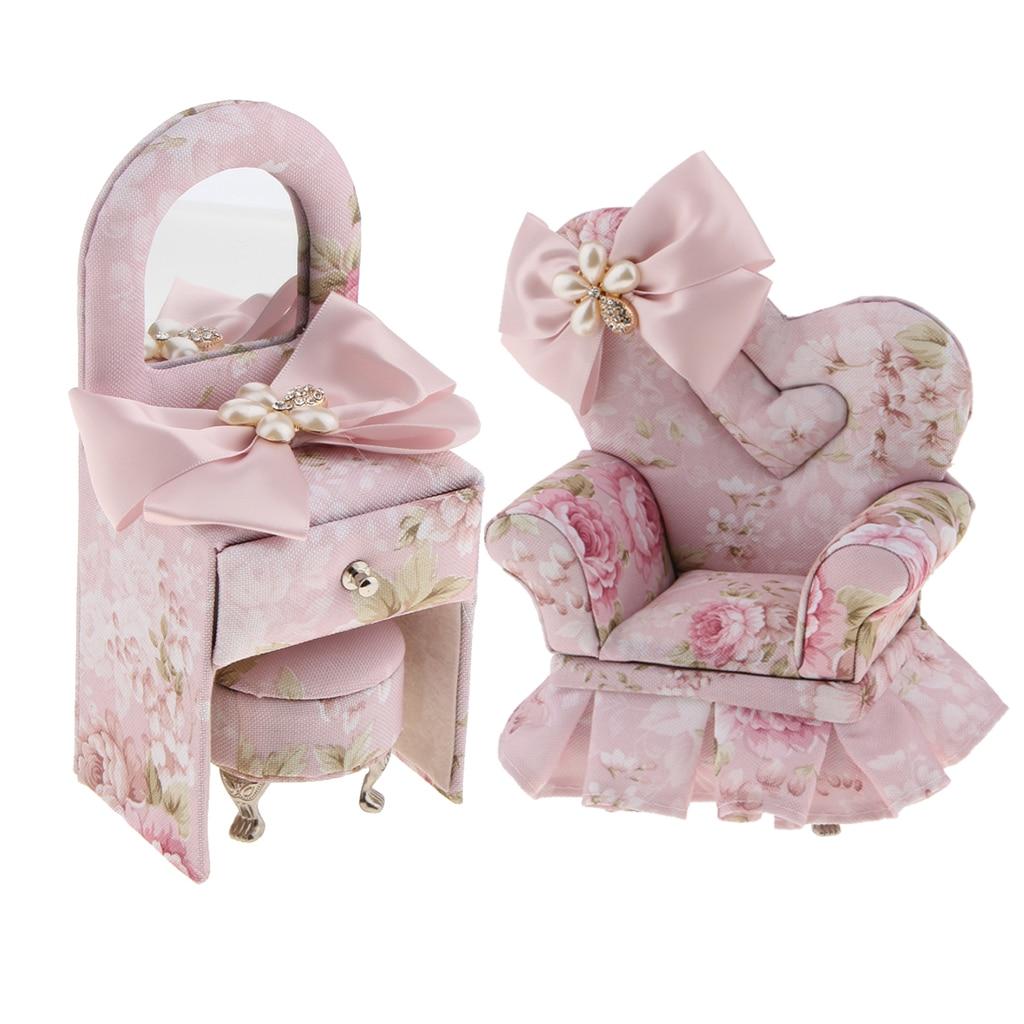Goed 2 Stuks Roze Vlinder Bloemen Patroon Stof Mini 3d Sofa & Dressoir Meubels Sieraden Doos Opslag Houder Decor
