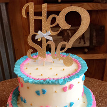 Chicinlife 1Pcs He or She Gender Reveal girl/boy Cake Topper happy Birthday Kids Party Newborn baby shower Decorations supplies