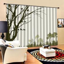 3D Curtain Luxury Blackout Window Living Room landscape hand draw tree birds curtains for bedroom