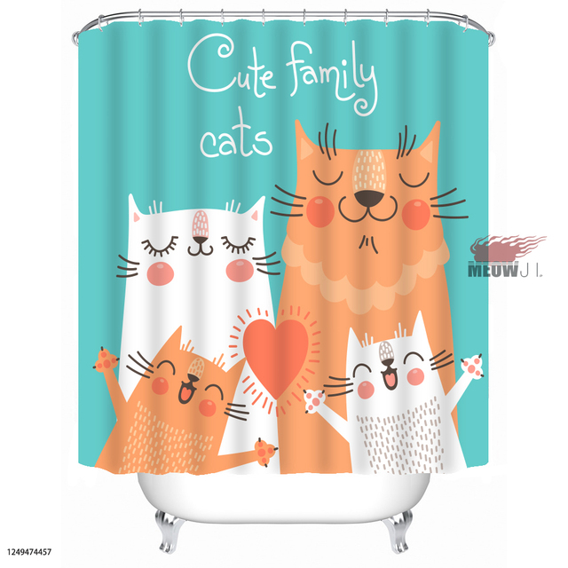 [MIAOJI] Watercolor Animals Custom Printed Shower Curtain Cute Lucky Cat  Family Girl Bathroom Decor