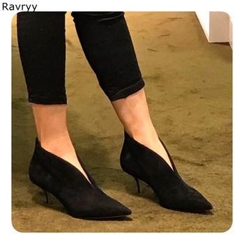Luxury Fashion black suede Women's high heel female Ankle Boots Slip-on Heels Pointed Toe V-shaped open line design single shoes