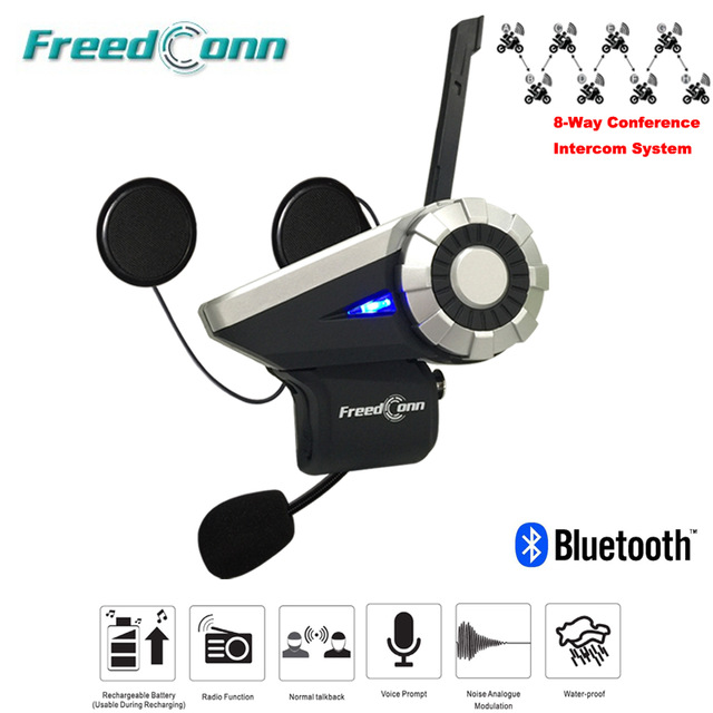 1500M 8-Way Freedconn T-Rex Bluetooth Headset Moto Intercomunicador Full Duplex Interphone FM Radio Helmet Intercom bluetooth helmet intercom t rex 8 riders waterproof full duplex motorcycle group talk system 1500m bt interphone headset with fm