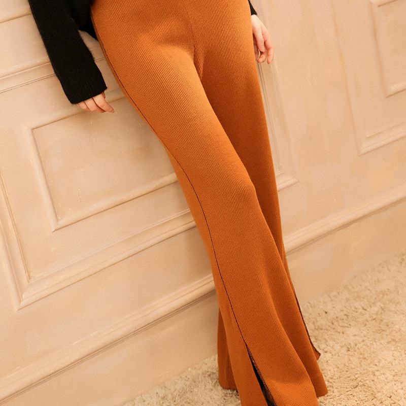 Trousers Women Palazzo Pants 2018 New Solid Color High Waist Knit Trousers Female Side Slit Wide Leg Pants Casual Wool Women