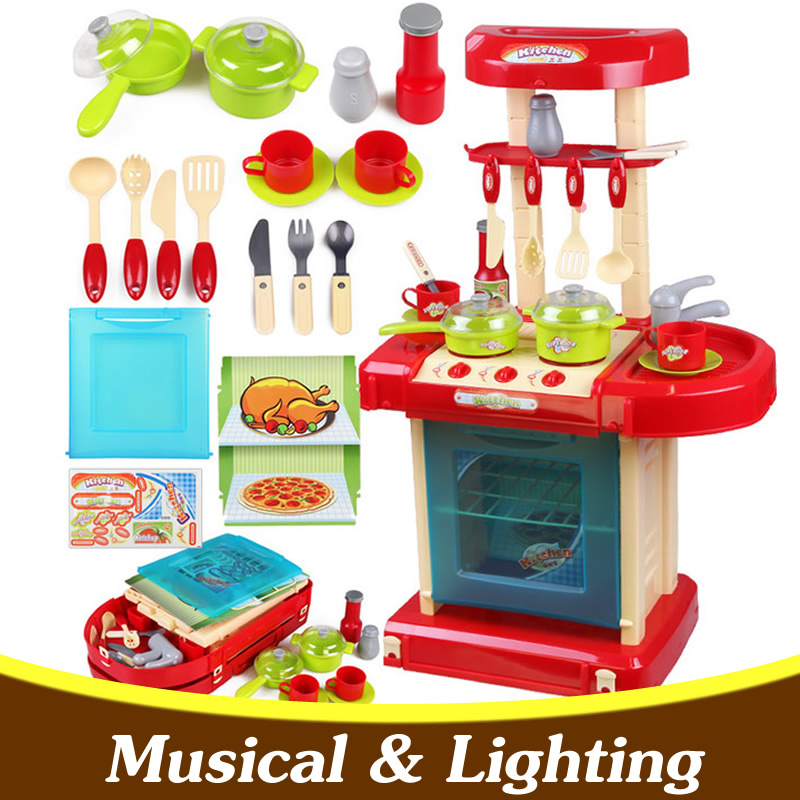 Large Children Cooking Toys for Girl Kitchen Toys Kitchen Set Toys Kitchenware Musical Ligthing Kitchen Pretend Play Toys Y23 мяч футбольный joerex 5 jis010