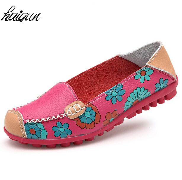 Flat Shoes Women Slip on PU Leather Soft Women Flat Casual Loafers Floral Moccasins Women shoes siketu sweet bowknot flat shoes soft bottom casual shallow mouth purple pink suede flats slip on loafers for women size 35 40