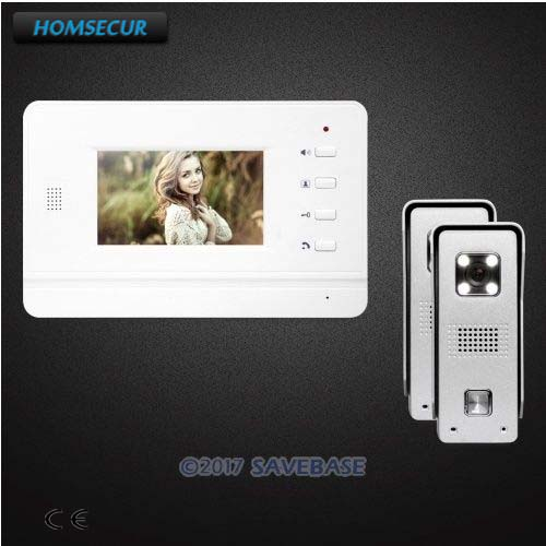HOMSECUR 2V1 4.3inch Wired Intercom System With Real-time Outdoor Monitoring + IR Night Vision for Home Security