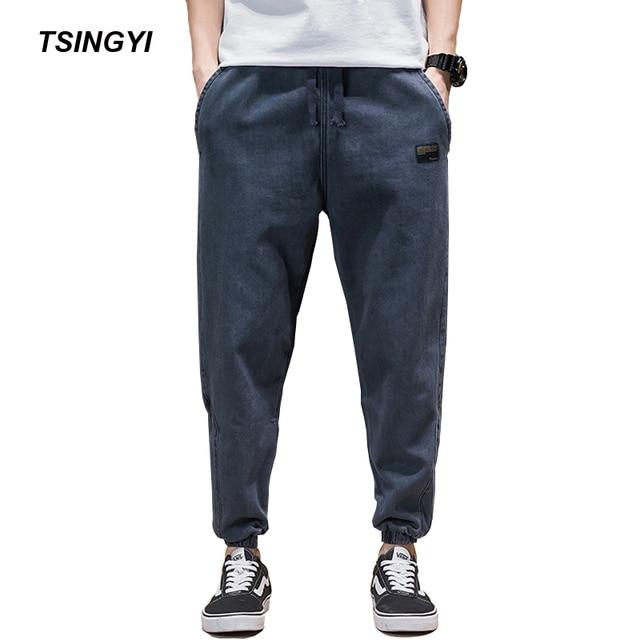 9d9ef77f60 Tsingyi Spring Summer Japan Style Do old Wash Denim Jeans Blue Black Mens  joggers Hip Hop Drawstring Plus size Men s Harem Pants